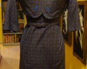 Little Blue Mid Century 3 Piece Dress Set with Wonderful Detailing