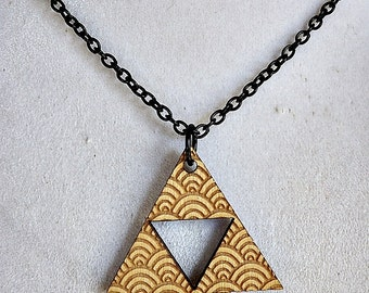 Wooden Shell Triforce Necklace