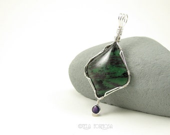 SALE Wire Wrapped Pendant Green Red Ruby in Zoisite Pendant Natural Stone Pendant 2 Stone Pendant Purple Amethyst Sterling Silver Handmade
