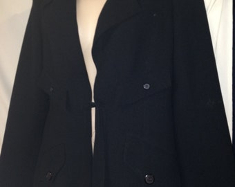 VTG80's-90's  rare mint Barneys New York black belted jacket sample sz. small