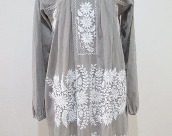 Mexican Embroidered Dress Long Sleeve Cotton Tunic In Grey