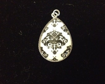 Black and White Damask Teardrop Pendant