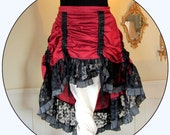 Extra Large Steampunk Skirt ~ Bustle w/Lace and Striped Ruffles ~ Red Black ~ adjustable xl size ~ belly dance fusion fashion
