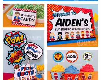 Superhero Birthday Party - DIY PRINTABLE Personalized Package FULL Collection - H9a