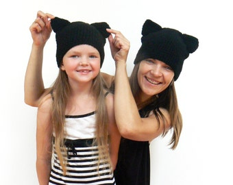 Cat Beanie, Mother Daughter Set,  Mommy and Me, Crochet Cat Hat, Matching Hats, Black Cat Hat, Cat ears, Girls Hat, Kitty Hat, Winter Hat