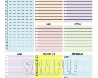 Work Day Organizer   Planner Page, Work Planner, Printable Planner, To Do  List  Office To Do List Template