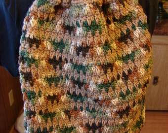 Crochet Woodsy Lined Drawstring Bag or Backpack