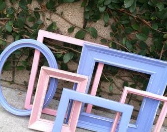 Shabby Chic Frames, Vintage Frames,  Set of 6, Distressed Wood, Girls Room, Nursery Decor, Pink, Pastel (Los Angeles)