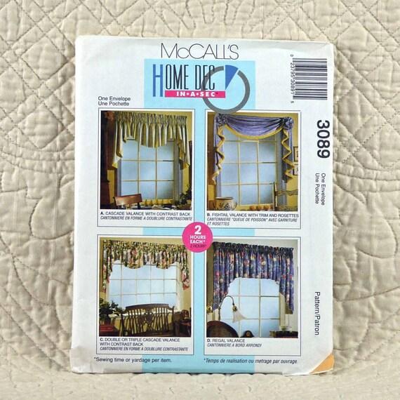 Window Treatments 3089 McCalls Uncut Pattern By