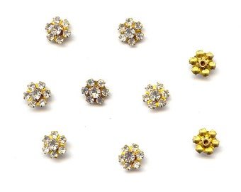 6 Vintage Swarovski Crystal Rhinestone Brass Filigree Flower Findings R71