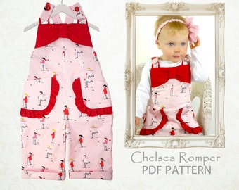 Baby sewing pattern pdf, romper pattern, ruffle romper, sunsuit pattern, overalls pattern, girls sewing pattern pdf, toddler pattern CHELSEA