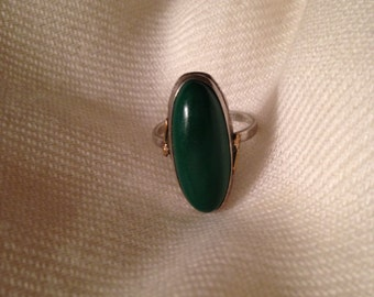 Clark and Coombs Sterling Silver 10K Gold Filled Two Tone Oblong Malachite Statement Ring Size 6.5
