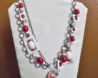 Multi Chain and Bead Necklace with Earrings #1057
