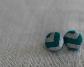 Sparkly Turquoise Chevron Button Earring