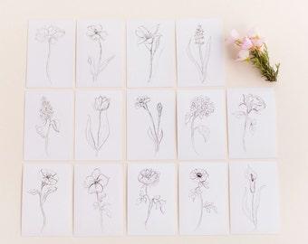 Set of 14 Botanical Black and White Flower Prints