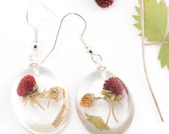 Wild strawberry earrings - Red resin earrings - Fruit jewelry - Real berry jewelry - Real strawberry jewlery - Botanical dangle earrings