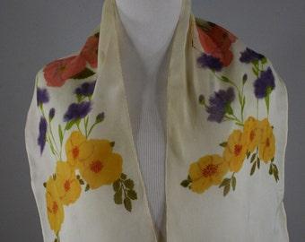 Vintage Sheer Floral Oblong Scarf