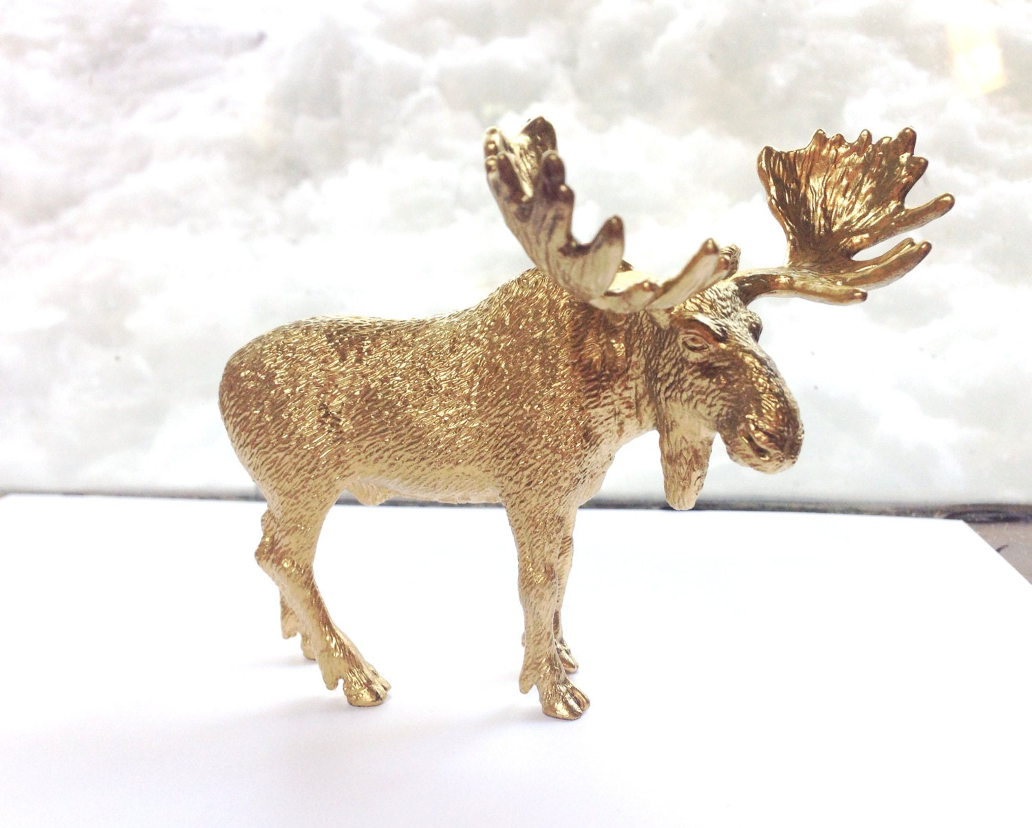 Desk Moose Figurine Gold Office Decor Library Vanity