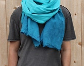 Turquoise Dip-Dyed Washed Linen Scarf