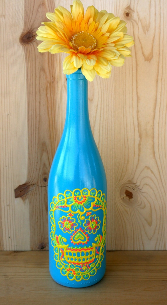 Day of the dead wine bottle vase up cycled brightly colored for Where to buy colored wine bottles