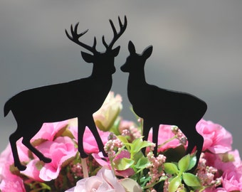 Black Deer Wedding Cake Topper   -  Rustic Country Chic Wedding