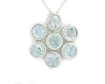 Aquamarine Bezel Pendant .925 Sterling Silver