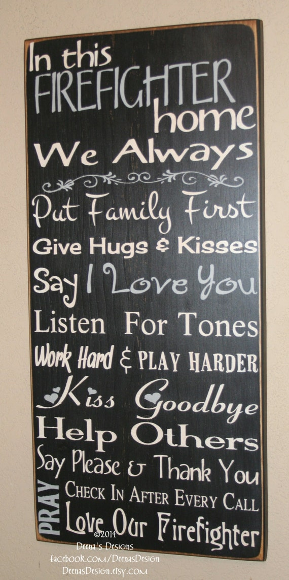 Firefighter House Rules Firefighter Decor Distressed Wall