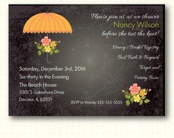Bridal Shower Invitation, chalkboard, blackboard, shower umbrella, flowers, orange, digital, printable, invite BW1412