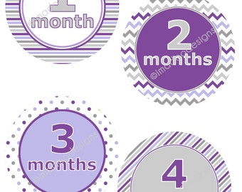 SALE - Modern Girl Monthly Stickers - Months 1 through 12 (Purple)