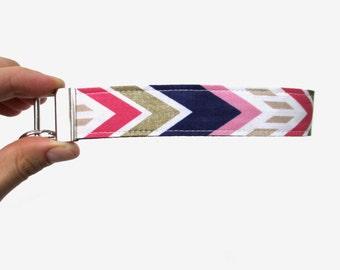 Navy, Pink, & Gold Chevron Key Fob Wristlet // Wrist Key Holder // Mother's Day // Wristlet Key Chain // Chevron Key Fob // Chevron // Gift