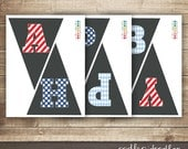 Happy Birthday Bunting / Pennant Banner / Boy's Birthday / Blue & Red Banner / INSTANT DOWNLOAD - Printable