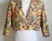 80s Floral Jacket / Vintage Cropped Jacket / 1980s Bolero / Women's Jacket