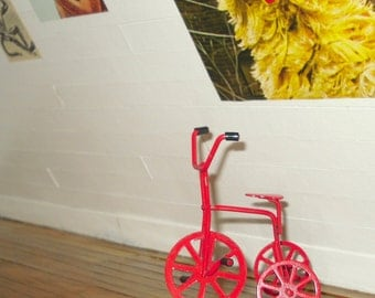 Dollhouse miniature vintage red tricycle