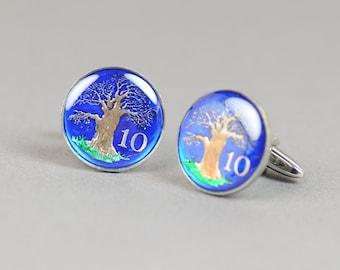 Cufflinks Zimbabwe enamel Coin. Tree of life