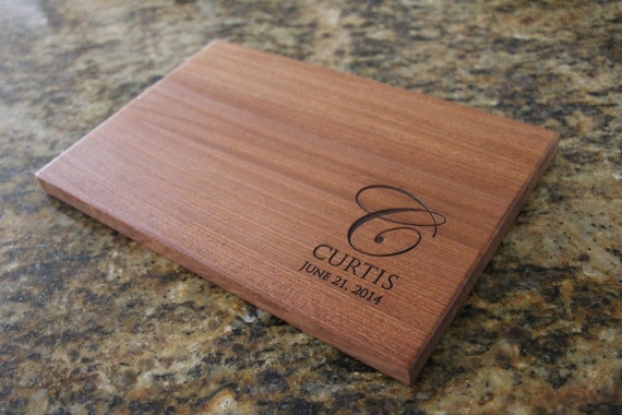 Personalized wedding gift custom engraved last name monogram - Engraved wooden chopping boards ...