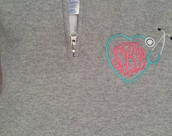 Monogrammed Stethoscope Half Zip