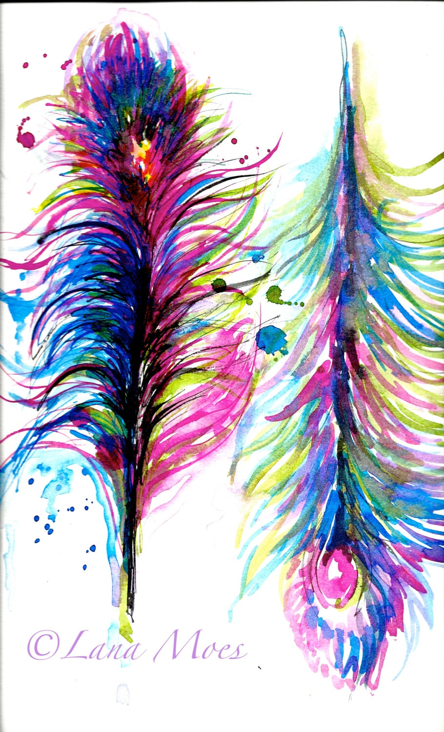 Peacock Feathers Original Abstract Watercolor Painting