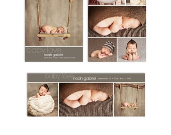 Baby Boy Birth Announcement Template - Card and Facebook Cover Bundle - Noah - 1305