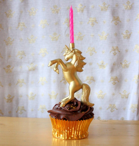 Gold Leaping Unicorn Birthday Candle Holder Cake Topper