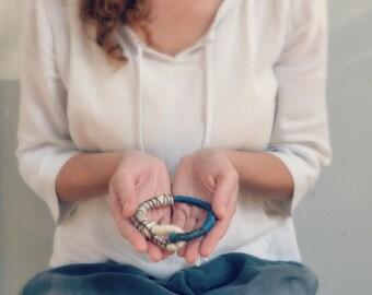 Textile bangle bracelet, fiber jewelry, primitive rope bracelet in blue and white