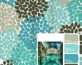 Shower Curtain Blue Aqua Gray Venice Inspired Floral Standard and Long Lengths 70, 74, 78, 88 or 96 in. Let's make one in your colors!