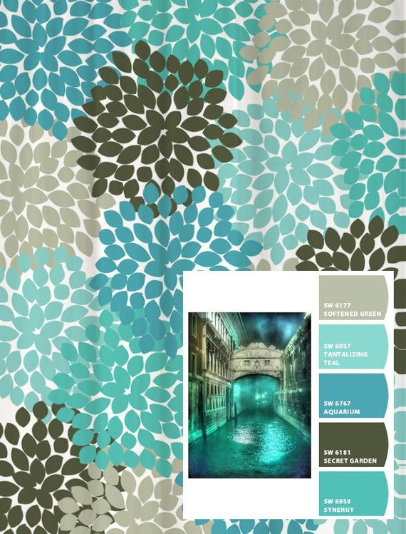 Shower Curtain Blue Aqua Gray Venice Inspired Floral Standard