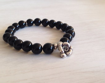 In Bloom - Sterling Silver Rose Charm on a beautiful Black Agate Strong, extra stretchy Bracelet