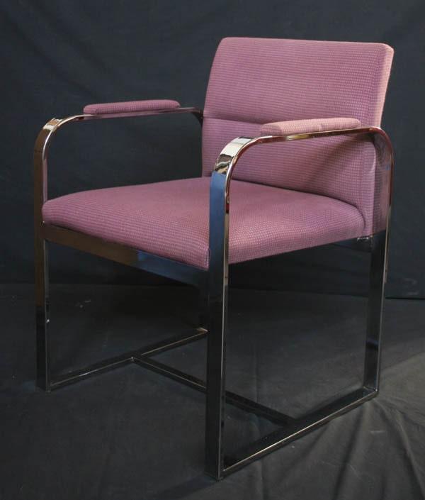 Vintage chrome framed retro side office lounge room arm chair