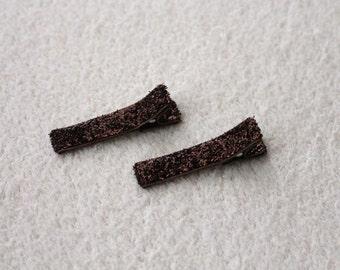 Glitter Hair Clips (pair of 2) - BROWN