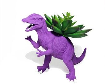 Up-cycled Dark Purple Dilophosaurus Dinosaur Planter