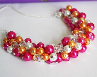 Hot Pink Necklace, Pearl Cluster Necklace, Bridesmaids Gift, Chunky Necklace, Hot Pink, Orange, White, Jewelry Set, Pearl Jewelry