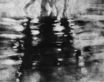 "Haunting Figure Monotype Print, ""Solitude XII"""