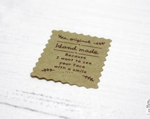 Kraft stickers handmade, small, 3.5 cm x 2.5 cm, 54 pieces, rectangle stamp shape, kraft paper, scrapbooking, packaging, party gift wrap