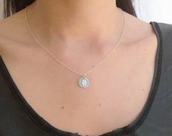 Silver Coin necklace, Delicate Necklace, dainty necklace, sterling silver necklace, simple necklace, coin jewelry, silver charms -801